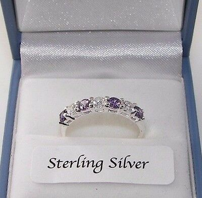 New 925 Sterling Silver Half Eternity Created Diamond Amethyst Ring Gift Boxed