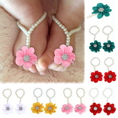 Newborn Infant Kids Baby Girl Soft Sole Crib Barefoot Ring Sandals Pearl Shoes