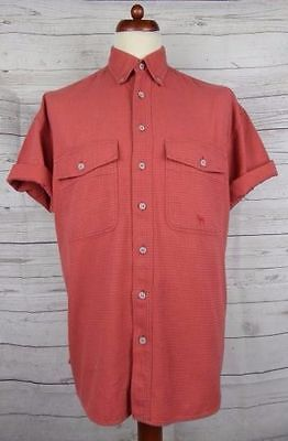 Vintage 90s S-Sleeve Red Waffle Cotton Casual Shirt -L- CS92