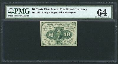 """1862-63 10 Cents Fractional Currency Fr-1242 Certified Pmg """"choice New-64"""""""