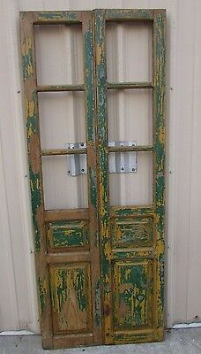 Antique Pair Mexican Old-Vintage-Primitive-Rustic-32x81-Barn Doors-Yellow-Green