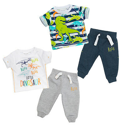 Baby Boys Jogger And T-shirt Set Two Styles Bold Dinosaur Theme Newborn To 18-24