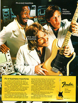 "1977 Fender Stratocaster Guitar photo ""It's a Rock Machine"" vintage print ad"