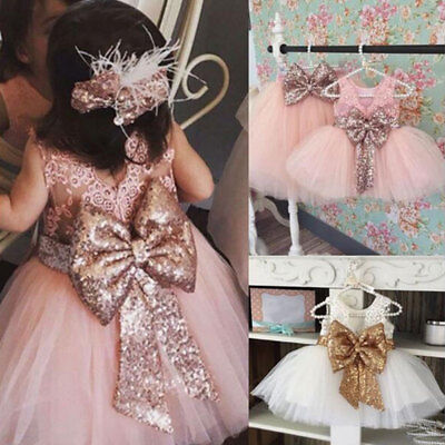 Baby Girls Children Dresses Sleeveless Sequins Bow Wedding Princess Party Dress