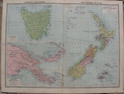 c1908 Antique Maps - NEW ZEALAND, FIJI ISLANDS, BRITISH NEW GUINEA & TASMANIA