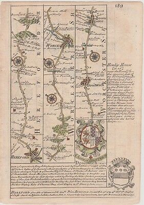 1736 Bowen Road Map - From Hereford, Worcester, Droitwich, Coventry to Leicester