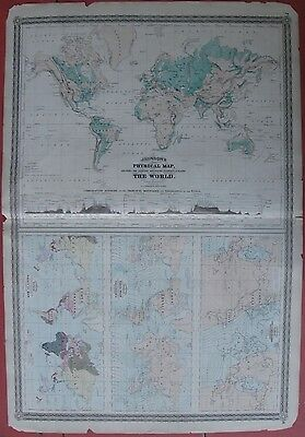 1870 Antique Maps - JOHNSON'S PHYSICAL MAP OF THE WORLD - Climate, Tides, Race
