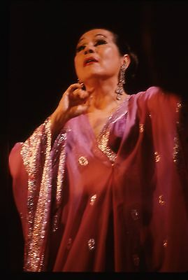 vintage 35mm color transparency/slide photo of yma sumac performing in new york