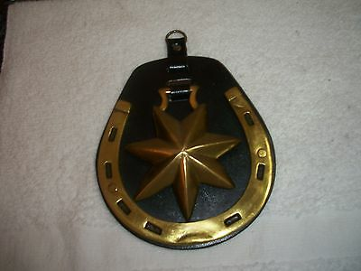LARGE LEATHER BACKED STAR IN HORSESHOE Harness Brass