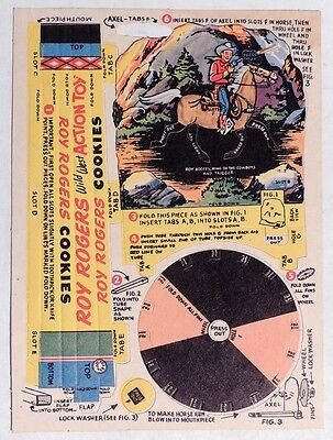 P943 Vintage: ROY ROGERS COOKIES WILD WEST ACTION TOY Premium Punch Card (1951)[