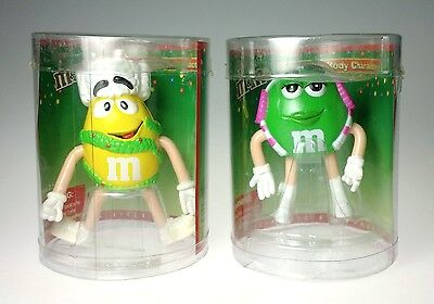 M & Ms Bendable Body Character Figurine Pair Green Yellow MIP