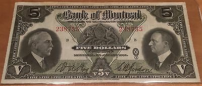 1935 Canada Bank Of Montreal 5$ Dollars Chartered Bank Note Small