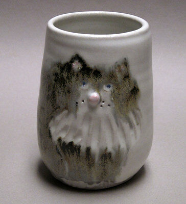 Cat Face Stoneware Tumbler, Light Gray, Signed Pottery, Handmade 4 1/2""
