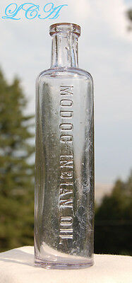 Clean early scarce - antique MODOC INDIAN OIL bottle WESTERN Indian TRIBE Modocs