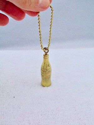Vintage Gold Metal Coca Cola Coke Bottle Charm Key Ring Ball Chain