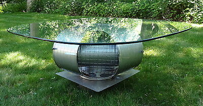Atomic Steampunk Coffee Table Mid Century Industrial Vent Base w/Heavy Glass Top