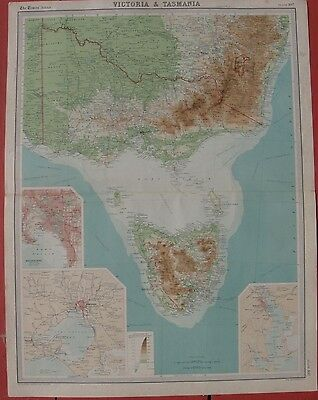 "1920 Large Antique Map - ""VICTORIA & TASMANIA"" - Melbourne & Hobart Inset Maps"