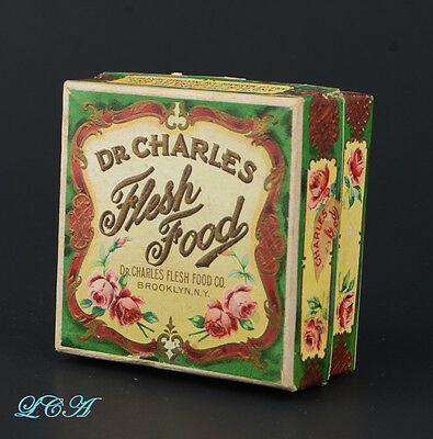 Rare COLORFUL antique Dr CHARLES Flesh Food COSMETIC PREPARATION box
