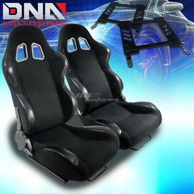 For 00-05 Mit Eclipse 3G Bracket+Type-4 Black Cloth Racing Seat Reclinable X2