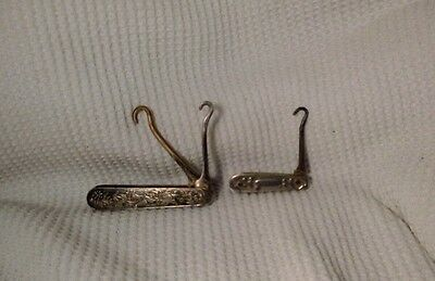 Antique folding button hooks 2pc. Lot