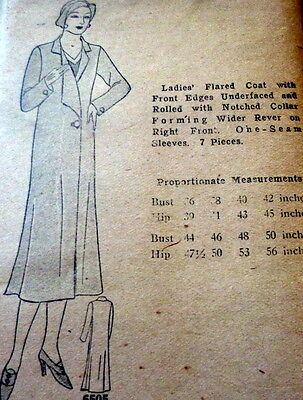 RARE VTG 1930s COAT Sewing Pattern BUST 38 OLD DEADSTOCK