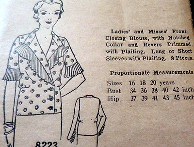 RARE VTG 1930s BLOUSE Sewing Pattern BUST 38 OLD DEADSTOCK