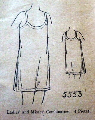RARE VTG 1920s COMBINATION LINGERIE Sewing Pattern BUST 36 OLD DEADSTOCK