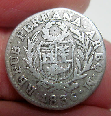 1836-M) 1/2 REAL ( AREQUIPA ) SOUTH PERU (SILVER) -- RARE ----  --one year -