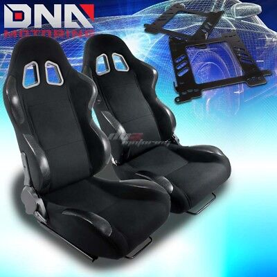 For 99-07 Focus Mark 1 Bracket+Type-4 Black Cloth Racing Seat Reclinable X2