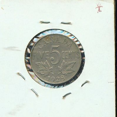 WORLD COINS CANADA 1928 FIVE CENTS  AU (2g469)