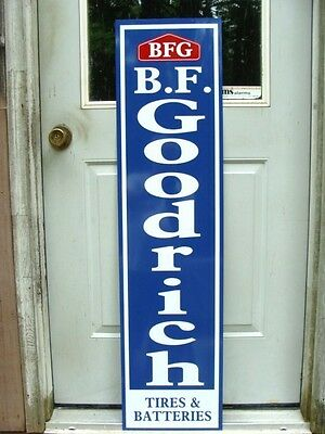 "BF GOODRICH TIRES EARLY1940s STYLE VERTICAL 1'X46"" METAL DEALER SIGN-GARAGE ART"