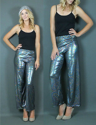 90's Metallic Disco Pant Psychedelic Print Wide Legs Flare Pant High waist SML