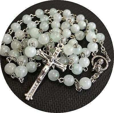 CATHOLIC NECKLACE Nice ITALY CRUCIFIX Cross BOX GIFT Jade Rosary Beads