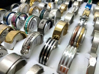 wholesale 50Pcs Mix Band engagement Stainless steel Rings Wedding Jewelry lots