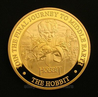The Hobbit: The Battle of the Five Armies Bilbo Baggins Dragon Gold Plated Coin