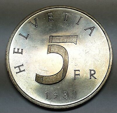 Switzerland 1981 Five Franken Stans Convention Proof KM #60 free shipping