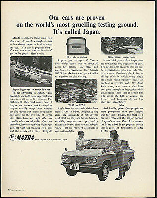 Proven on the most gruelling testing ground - called Japan. Mazda ad 1965