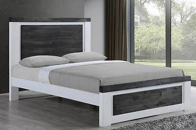 White Wooden Bed Frame Double King Size Modern Stylish Designer Bed Solid Wood