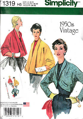 1950 Vintage Simplicity Sewing Pattern #1319 Misses Jackets Size 6-14