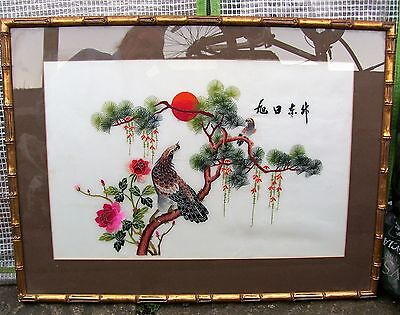 Large Chinese/japanese Silk Hand Embroiderd  Picture