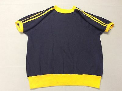 Vintage 70S 80S Blue And Yellow Striped Beatnik Blank Sweatshirt, Mens Large