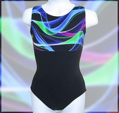 Girls Gymnastics Leotard Child 6-16 rainbow black swirly design New Leo ca