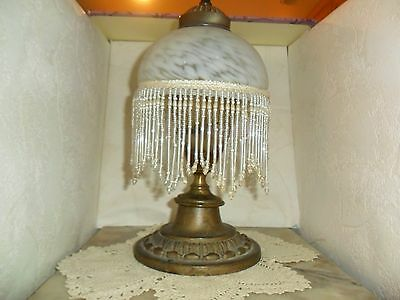 Vintage Lamp Shade Glass with Fringe Beads