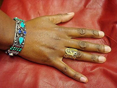 Pretty ethnic bracelet. Silver turquoise red blue green ethnic Afghan jewellery