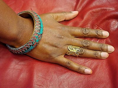 Pretty ethnic bangle.  Gold turquoise red Afghan jewellery bracelet.