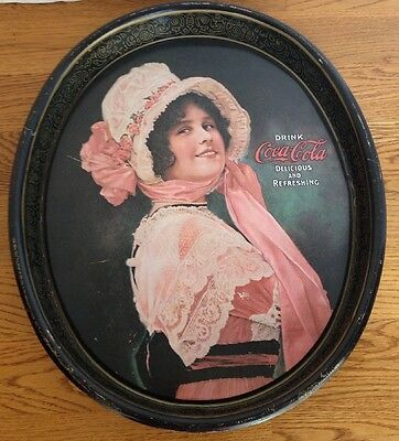 Vintage Drink Coca Cola Pink Lady Tin Metal Oval Advertising  Serving Tray