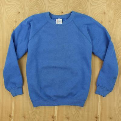 vtg usa made 80's 90's raglan sweatshirt LARGE hanes thin boxy blue distressed