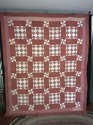 """Antique C1890-1900 Maine Hand Stitched + Quilted Patchwork Quilt  86"""" x 73"""""""
