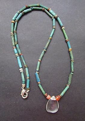 NILE  Ancient Egyptian FaienceRock Crystal Amulet Mummy Bead Necklace ca 600 BC