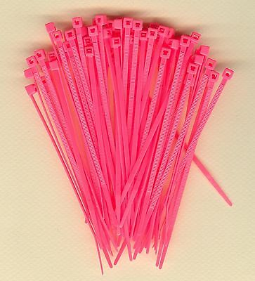 """100 4"""" Inch Long 18# Pound FLUORESCENT PINK Nylon Cable Zip Ties Ty Wraps USA"""